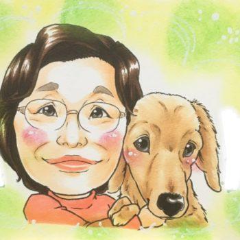 ペットと一緒の似顔絵