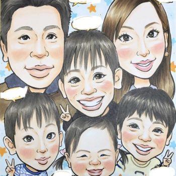 家族全員の似顔絵