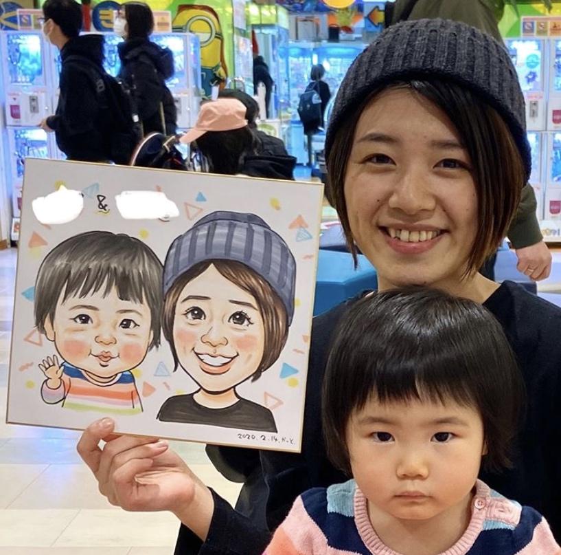 親子の似顔絵