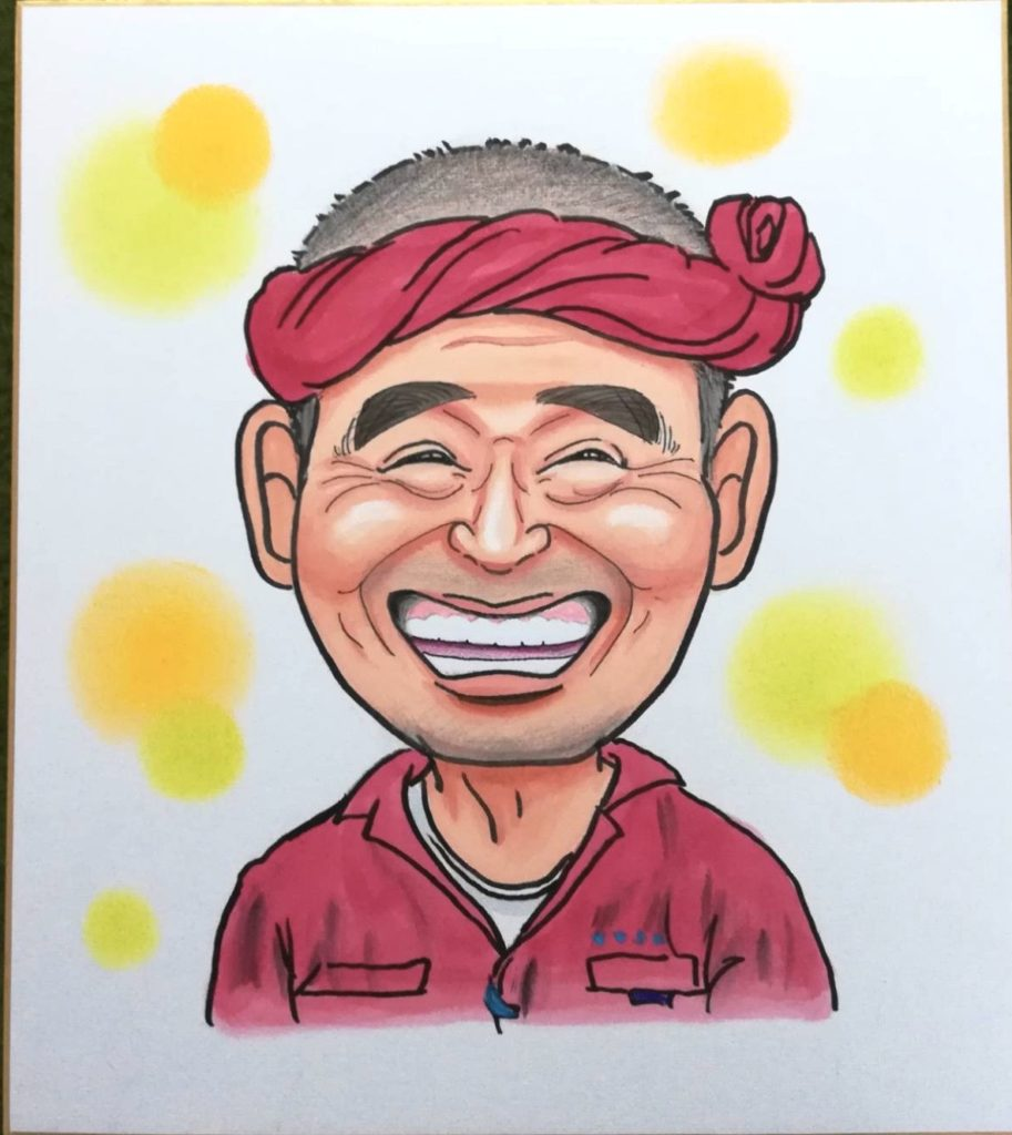 ボランティアのおじさんの似顔絵